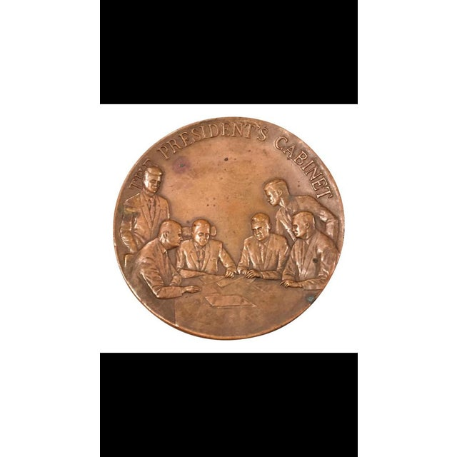 Metal Maco Ny Bronze Medallion President Paperweight For Sale - Image 7 of 7