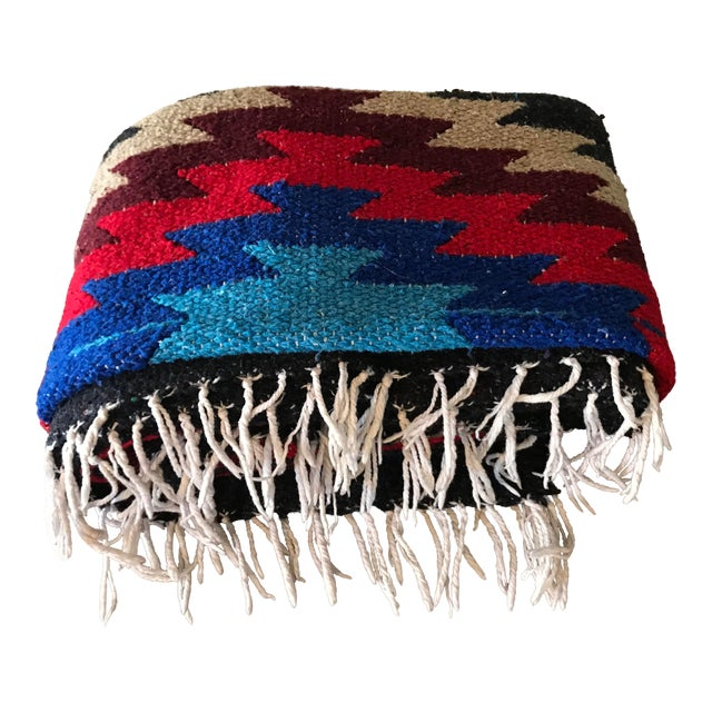Navajo Style Red Blue Gray Woven Cotton Throw Blanket For Sale