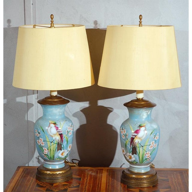 Hand Decorated Glass Table Lamps - A Pair For Sale - Image 5 of 6