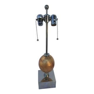 Ostrich Egg Polished Nickel Base Deluxe Socket Lamp For Sale