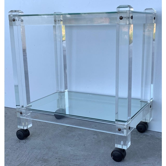 French 1970s Plexiglass Lucite Drink Bar or Dessert Cart For Sale - Image 4 of 9