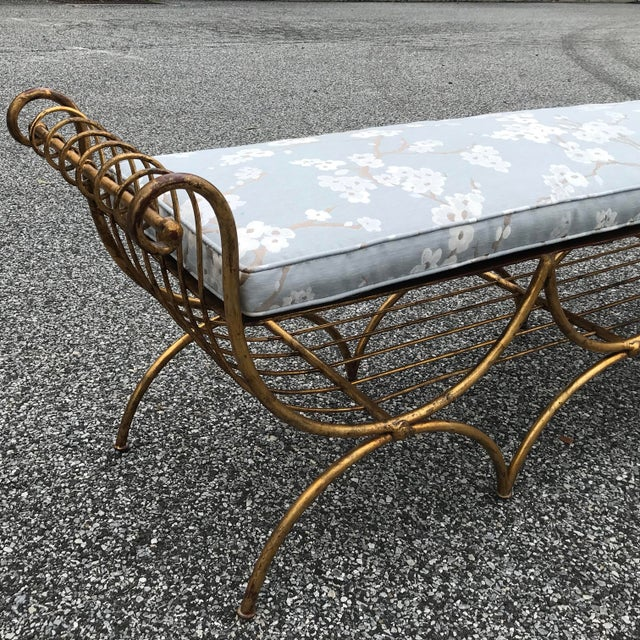 Mid 20th Century Vintage Mid Century Hollywood Regency Gilt Metal Bench For Sale - Image 5 of 13