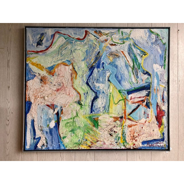 Blue Fabulous Heavy Impasto Abstract by Thomas Koether For Sale - Image 8 of 8