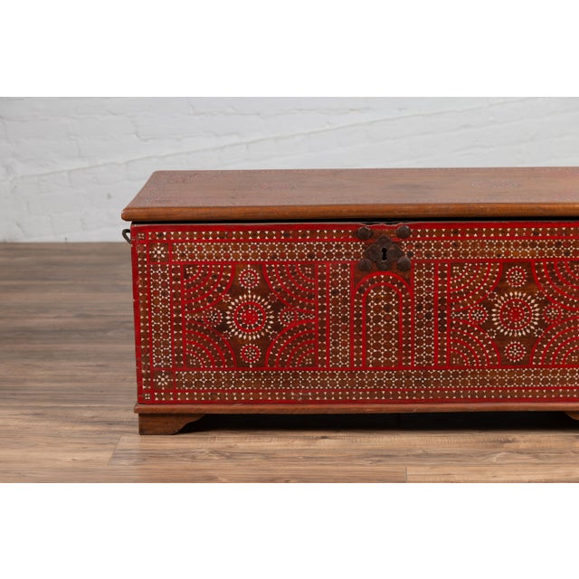 Antique Madura Blanket Chest With Inlaid Mother-Of-Pearl Red Geometric Decor For Sale - Image 12 of 13