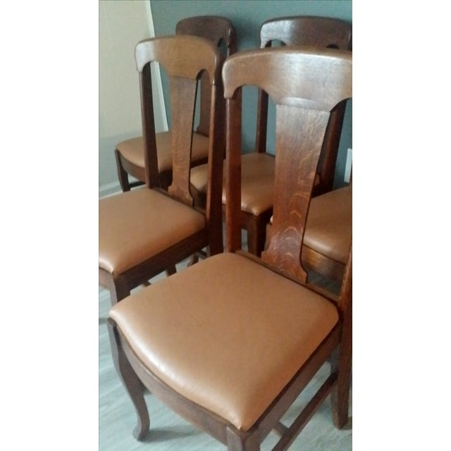 Queen Anne Style Antique Oak Dining Chairs - S/5 - Image 5 of 5