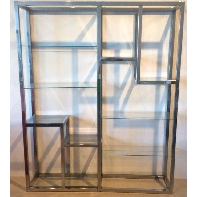 Mid-Century Modern Vintage Hollywood Regency Chrome Etagere Shelf Shelves For Sale - Image 3 of 7