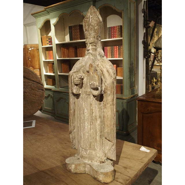 Early 1800s Partially Stripped French Wood Statue of St Martin De Tours For Sale - Image 13 of 13