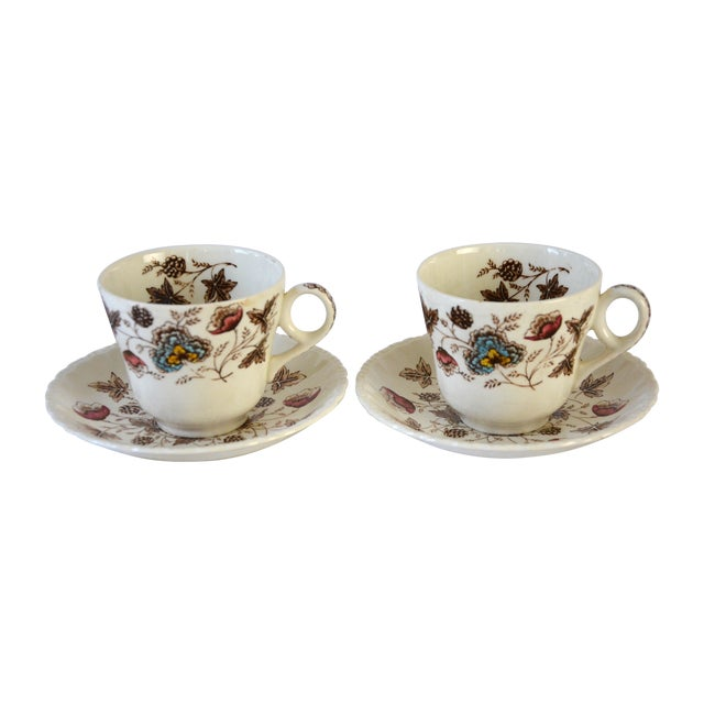 Vintage Floral Teacup and Saucer - Pair For Sale