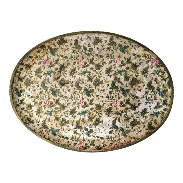 Antique Floral Papered Tray - Image 1 of 6