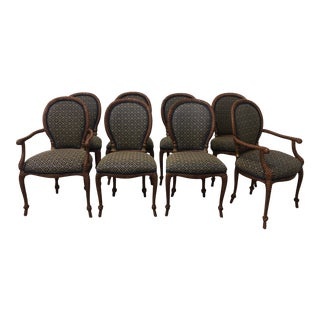 Late 20th Century Wood Carved Faux Rope Chairs - Set of 8 For Sale