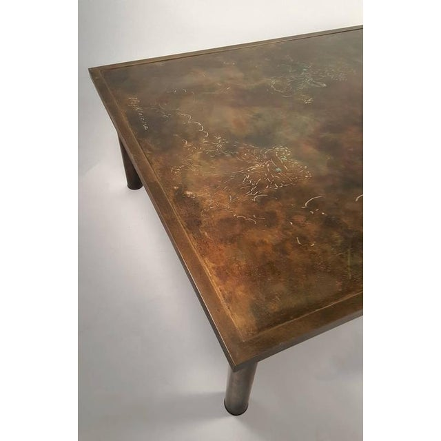 Philip and Kelvin LaVerne 'Classical' Motif Acid-Etched Bronze Coffee Table For Sale In Dallas - Image 6 of 9
