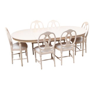 1990s Gustavian Dining Furniture- Set of 7 For Sale