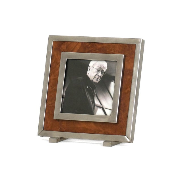 Mid-Century Modern 1970s Itlain Burl Wood & Silver Nickel Picture Frame For Sale - Image 3 of 3