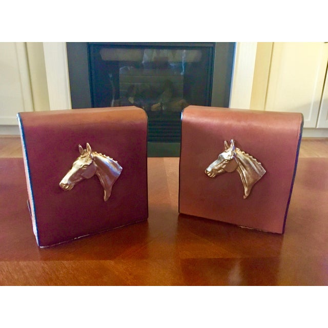 English Equestrian Saddle Leather Bookends - a Pair For Sale - Image 9 of 12