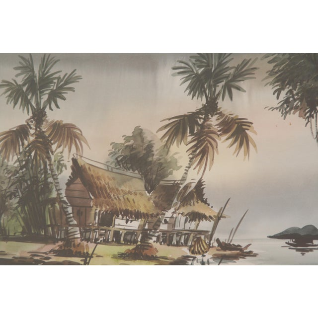 Boho Chic Vintage Polynesian Watercolor Paintings - A Pair For Sale - Image 3 of 7