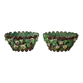 Thomas Sergent French Majolica Jardinieres or Cachepots, a Pair For Sale