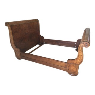 Traditional Henredon Leather Sleigh Queen Size Bedframe For Sale