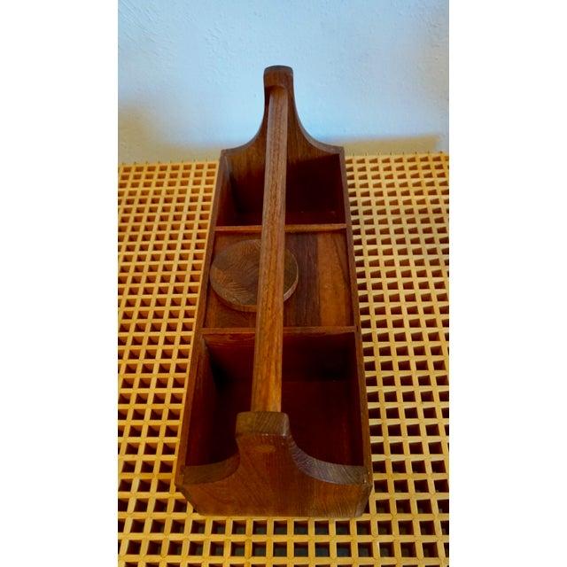 Mid-Century Modern Teak Bar Caddie With Mini Brass Caddie For Sale - Image 3 of 8