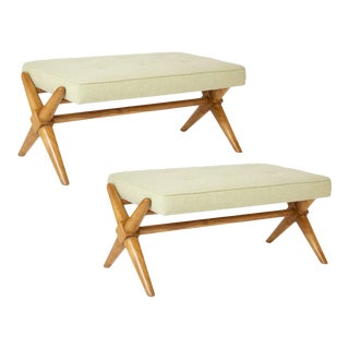1950's t.h. Robsjohn-Gibbings Bleached Walnut X-Form Bench-a Pair For Sale