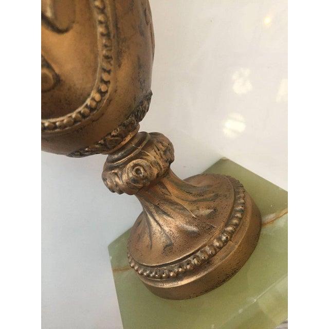Hollywood Regency Hollywood Regency Style Goldtone Spelter Urn Table Lamp on Marble Base For Sale - Image 3 of 6
