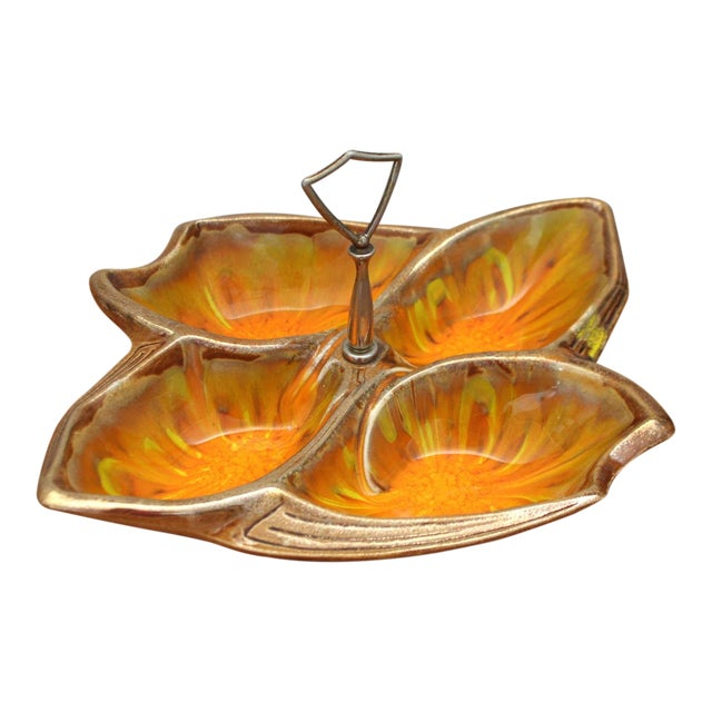 1960s California Pottery Divided Tray For Sale