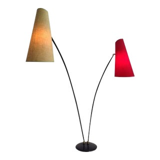 Beautiful Italian Red and Yellow Floor Lamp, 1950s