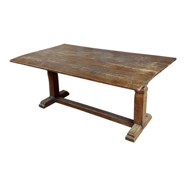 19th Century Farmhouse Trestle Dining Oak Table For Sale