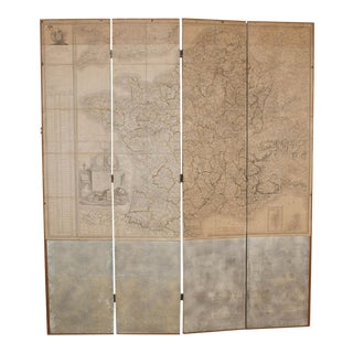 Circa 1810 Map of France Mounted on Screen