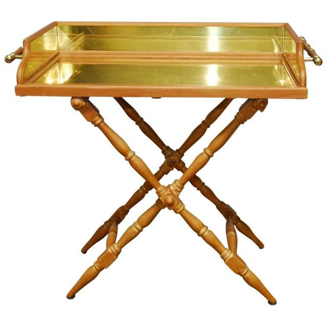 Vintage Italian Pine & Brass Butler's Tray Table For Sale