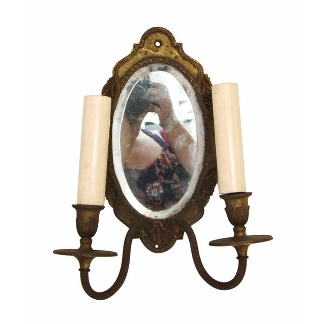 Double Arm Brass Mirrored Sconce For Sale - Image 9 of 10