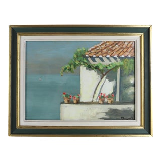 Late 20th Century Mediterranean Oil Painting Signed M. Bourgeois, Framed For Sale