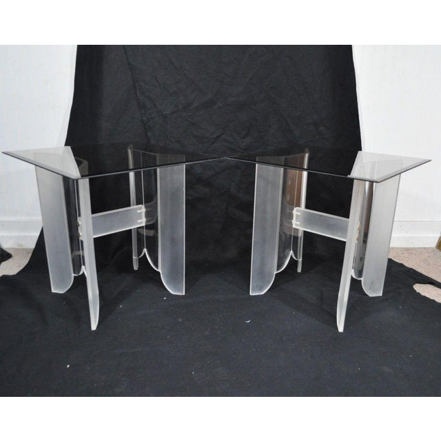Vintage Pair Mid Century Modern Frosted Lucite & Glass Butterfly End Side Tables For Sale - Image 5 of 11