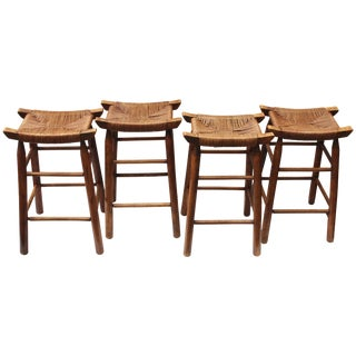 Vintage Mid Century Wood Stools With Rush Seats- Set of 4 For Sale
