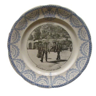 19th C. Lourdes Blue & White Transferware Plate For Sale