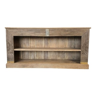 Vintage Teal Bookshelf Made From Repurposed Architectural Elements For Sale