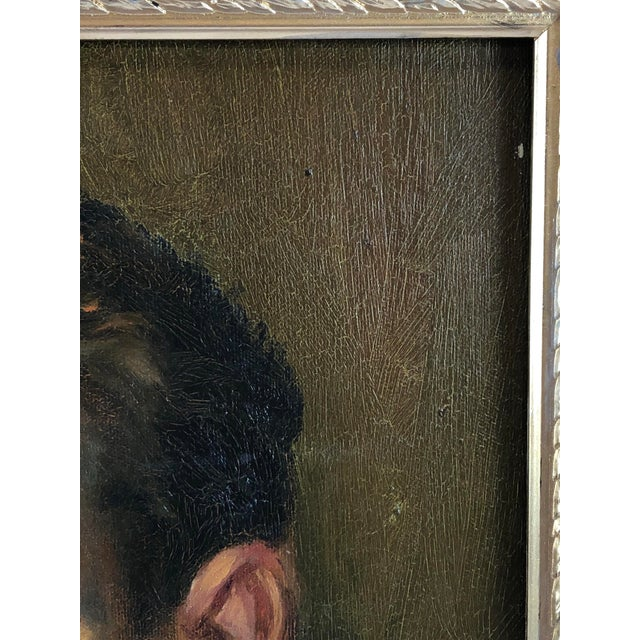 Modern 1940s Vintage Portrait of a Man in White Shirt Oil on Canvas Painting For Sale - Image 3 of 12