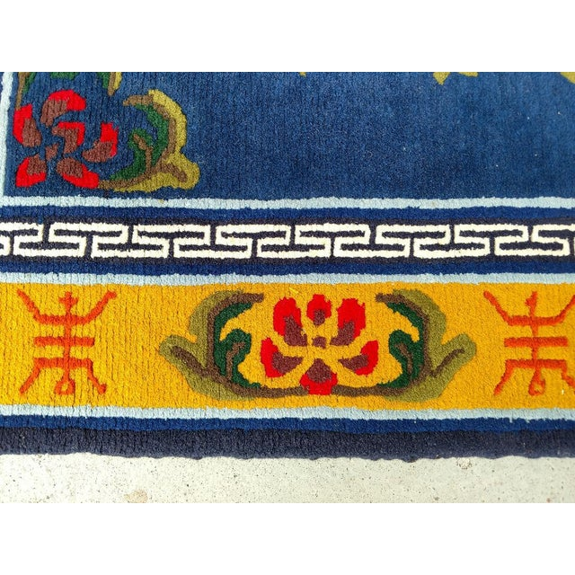 Late 20th Century Hand-Knotted Wool, Asian Navy Blue Rug - 3′ × 6′4″, Vintage For Sale - Image 5 of 8