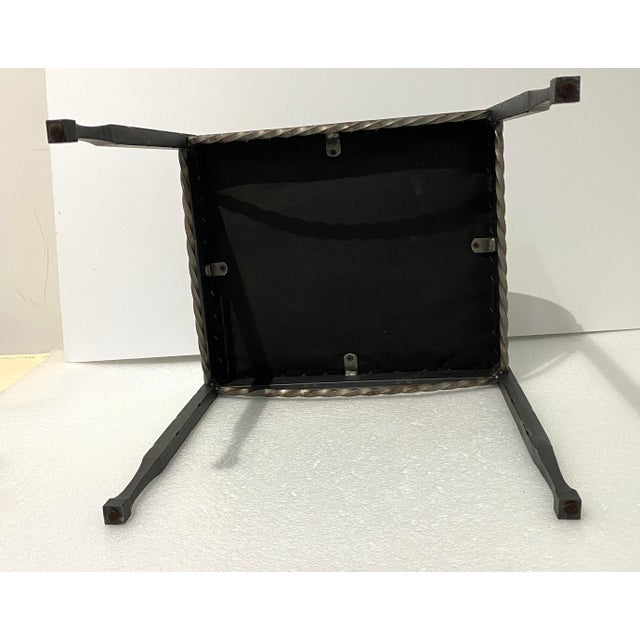 Vintage Artisan Wrought Iron Stool With Faux Lizard Fabric For Sale - Image 9 of 12