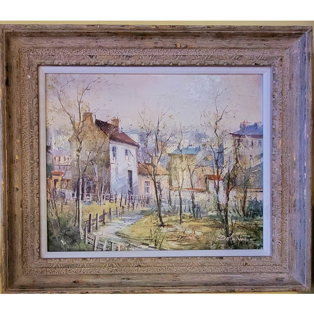 1960s French Impressionist Style Rural Scene Oil Painting by Lucien Delarue, Framed For Sale