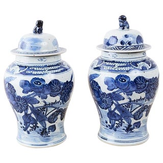 Pair of Chinese Blue and White Floral Ginger Jars For Sale