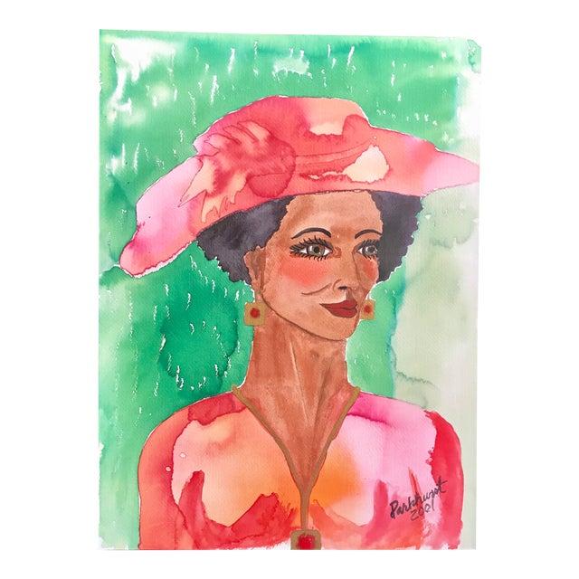 """ Woman in Hat "" Watercolor Portrait - Signed Original For Sale"