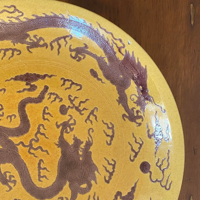 Early 20th Century Chinese Imperial Yellow Craquelure Plate With Eggplant Colored Dragons For Sale In Philadelphia - Image 6 of 7