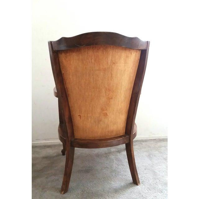 1970s 1970's Vintage Hollywood Regency Orange Velvet Wing Chair For Sale - Image 5 of 7