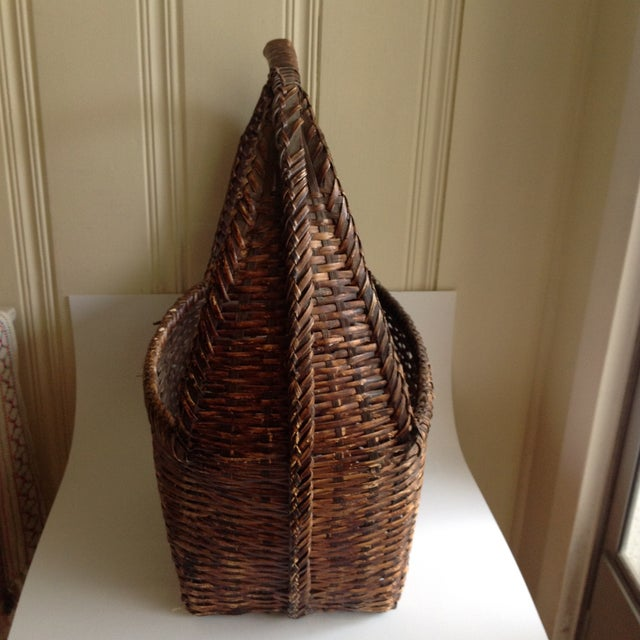 Rustic Woven Wicker Basket For Sale - Image 5 of 9