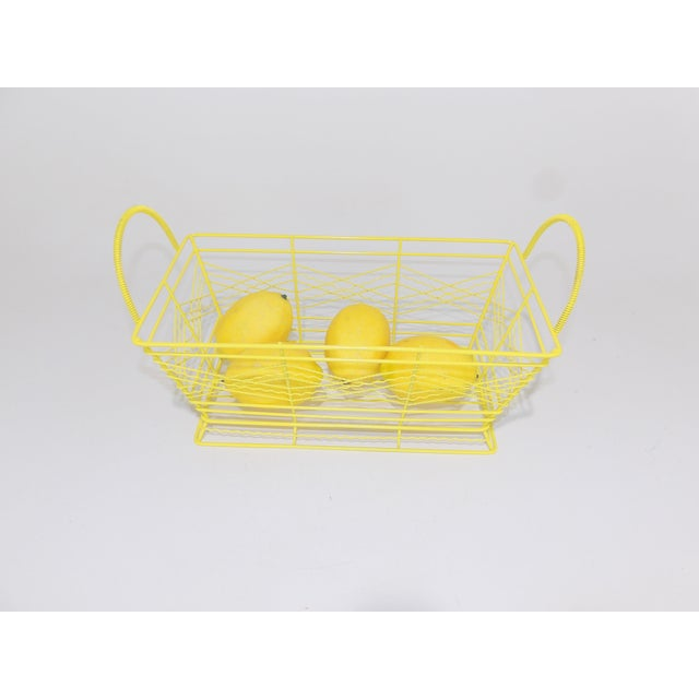 Brass Contemporary Electric Yellow Bathroom Metal Wire Toiletries Catchall For Sale - Image 7 of 8