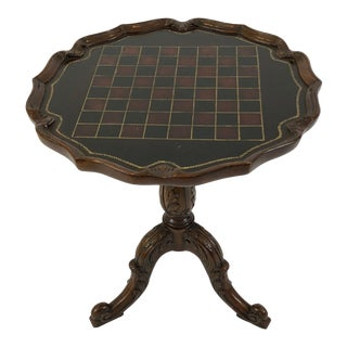 1990s Traditional Maitland Smith Checkerboard Mahogany Round Gueridon Table For Sale