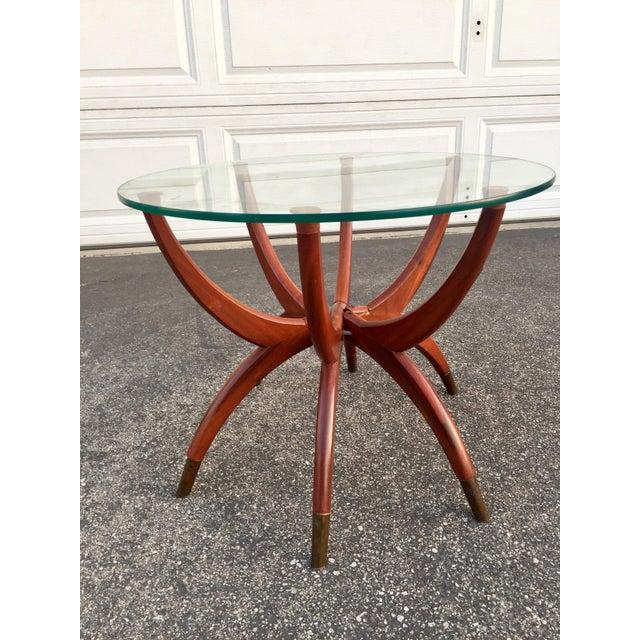 Gold Mid-Century Modern Teak Spider Leg Table For Sale - Image 8 of 9