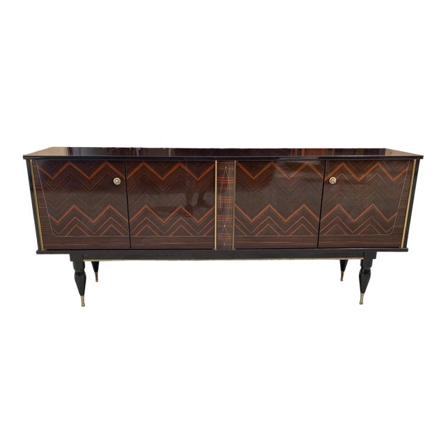 """1940s French Art Deco Exotic Macassar Ebony """"Zigzag"""" Buffet/Sideboard For Sale"""