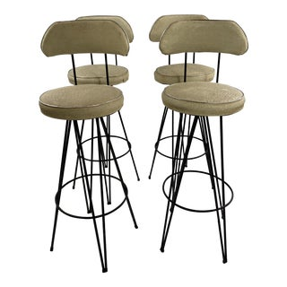 Mid Century Modern Federick Weinburg Style Hairpin Swivel Stools- Set of 4 For Sale