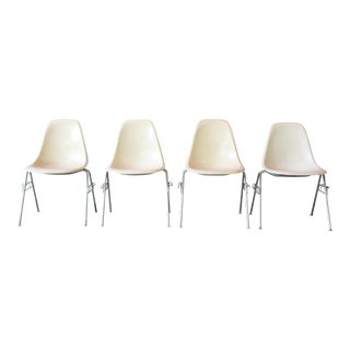 Charles Eames for Herman Miller DSS Stacking Chairs in Parchment - Set of 4 For Sale